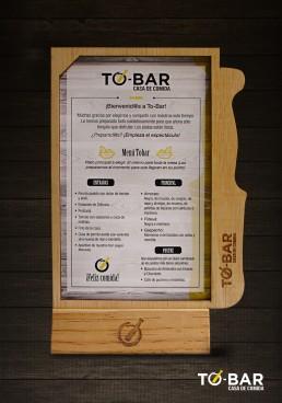 Diseño soporte menu elaborado por agencia de publicidad simbolo